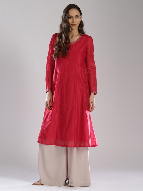 Fabindia Women Red Silk Embroidered Anarkali Kurta