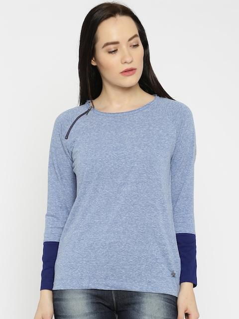 Wrangler Women Blue Solid Round Neck T-shirt