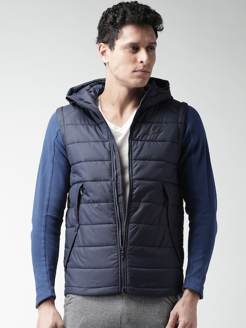 Nike Navy Padded Hooded Jacket