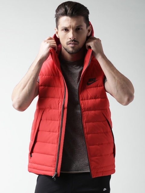 Nike Red Padded Sleeveless Hooded Jacket