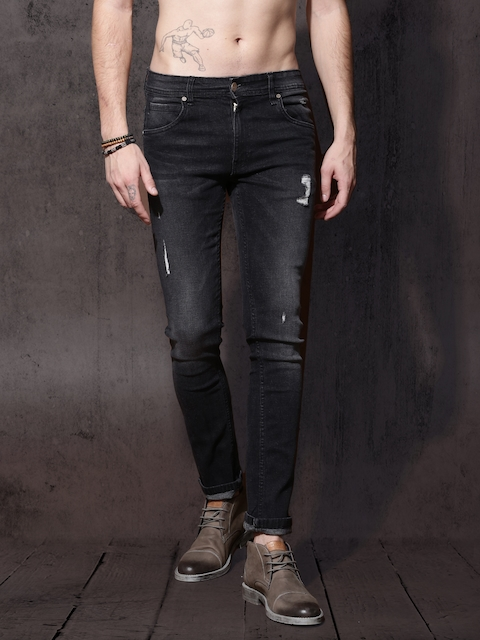 Roadster Men Black Tapered Fit Mid Rise Clean Look Jeans