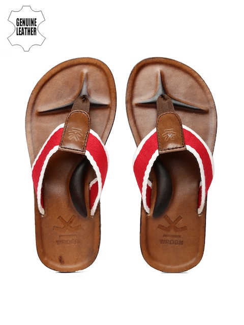 WROGN Men Red & Off-White Sandals