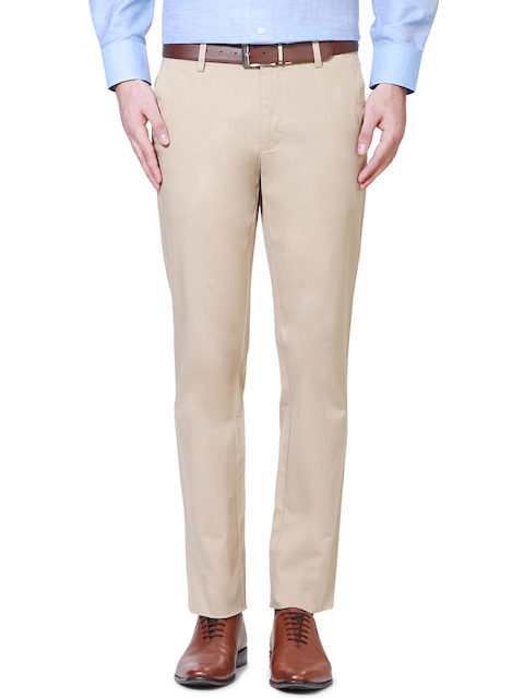 Van Heusen Men Beige Solid Slim Fit Flat Front Trousers