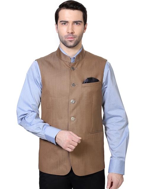 Van Heusen Brown Slim Fit Nehru Jacket