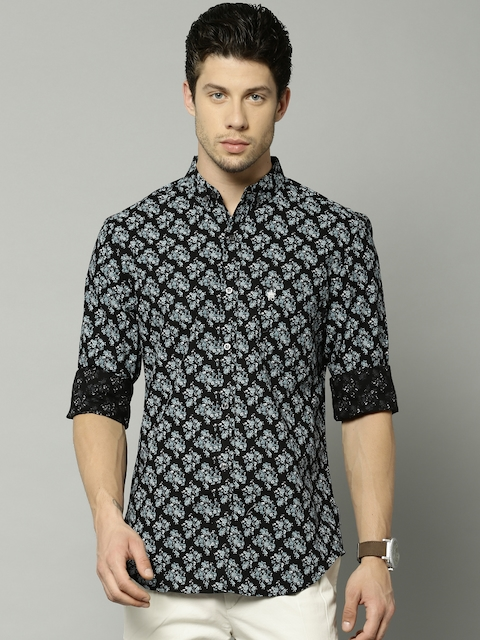 French Connection Men Black & Blue Slim Fit Floral Print Casual Shirt