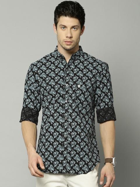 French Connection Men Black & Blue Slim Fit Floral Print Casual Shirt