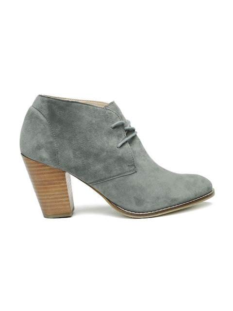 Carlton London Women Grey Solid Suede Heeled Boots