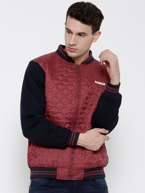 Cloak & Decker by Monte Carlo Maroon Colourblocked Bomber Jacket