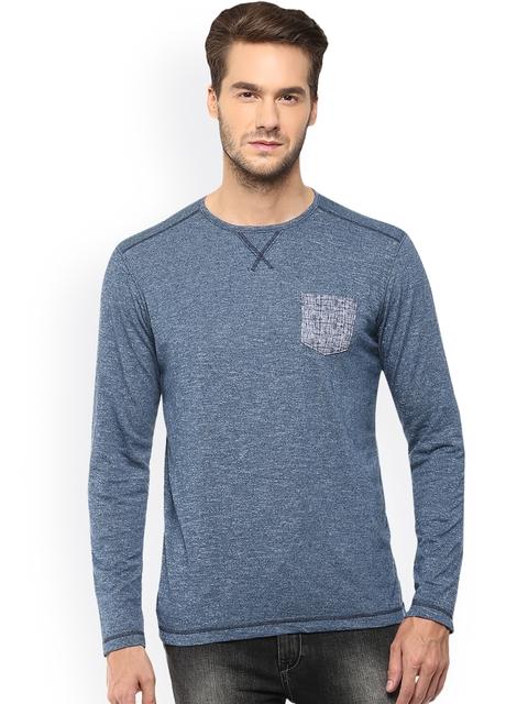 Mufti Men Blue Solid Slim Fit T-shirt