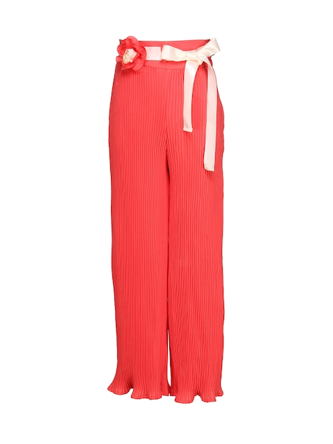 CUTECUMBER Girls Peach-Coloured Regular Fit Palazzo Trousers