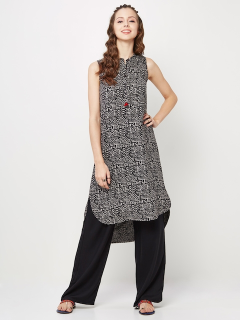 Global Desi Women Black & Grey Printed Straight Kurta  available at myntra for Rs.699