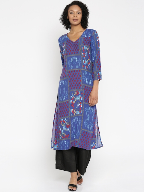 Global Desi Women Blue Printed A-Line Kurta  available at myntra for Rs.679