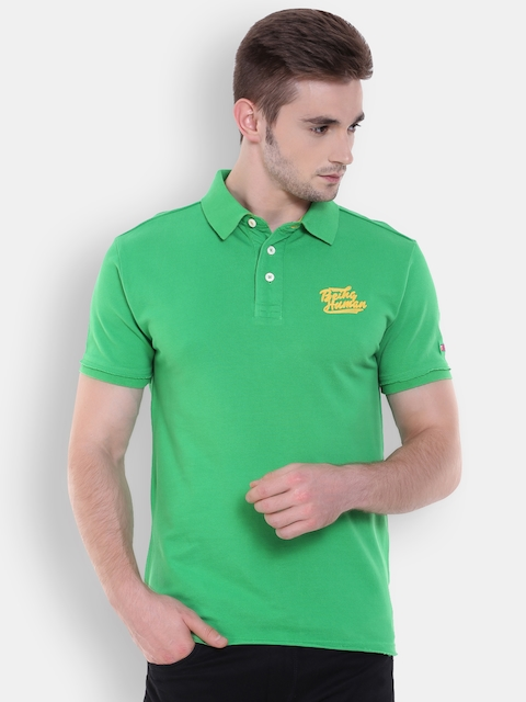 Being Human Men Green Solid Polo T-Shirt