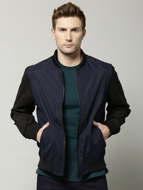 Marks & Spencer Navy Colourblocked Slim Baseball Bomber Jacket
