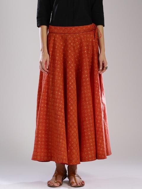 Fabindia Rust Orange Printed Maxi Skirt