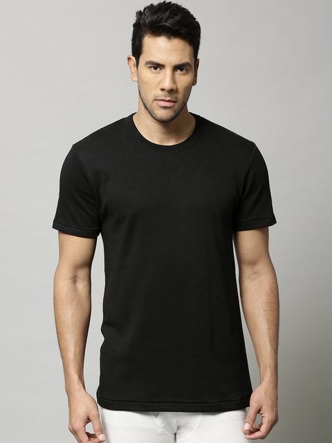 Marks & Spencer Men Black Cotton Rich Thermal T-shirt 8803N