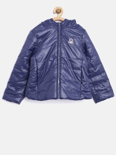 United Colors of Benetton Girls Navy & Pink Reversible Hooded Puffer Jacket