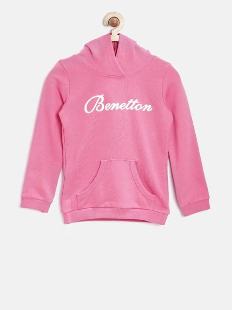 United Colors of Benetton Girls Pink Hooded Sweatshirt