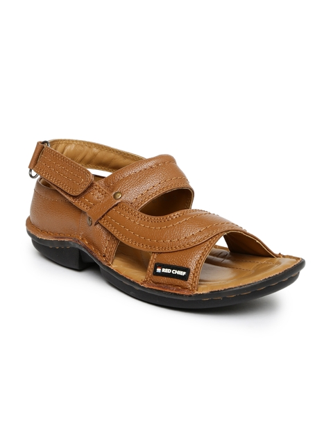 Red Chief Men Tan Brown Leather Sandals