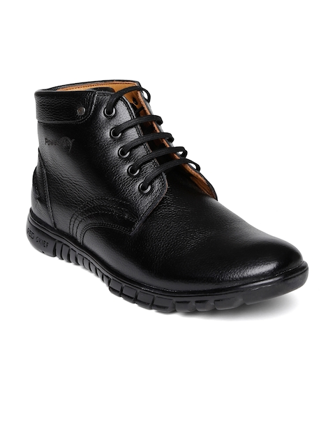 Red Chief Men Black Solid Mid-Top Leather Flat Boots