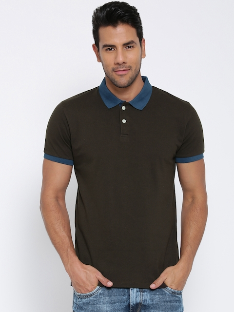 CULT FICTION Men Brown Solid Polo Collar T-shirt  available at myntra for Rs.314