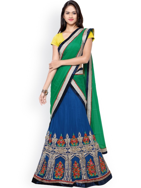 Touch Trends Yellow & Blue Embroidered Net Semi-Stitched Lehenga Choli with Dupatta
