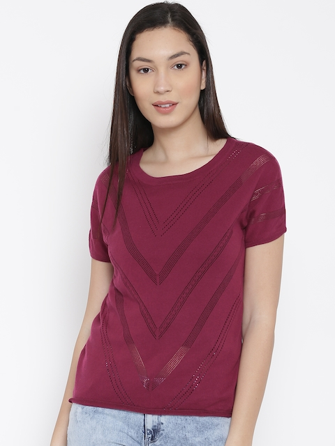 United Colors of Benetton Women Maroon Patterned Top
