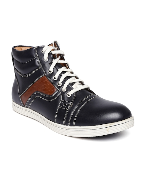 BCK by Buckaroo Men Black & Brown Solid High-Top Sneakers  available at myntra for Rs.748