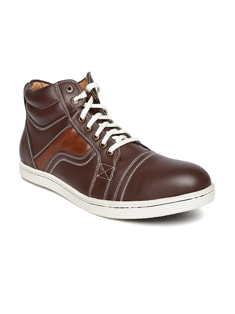 BCK by Buckaroo Men Coffee Brown Solid High-Top Sneakers  available at myntra for Rs.748