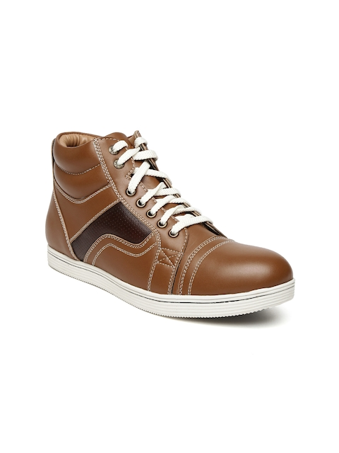 BCK by Buckaroo Men Tan High-Tops Leather Sneakers  available at myntra for Rs.748