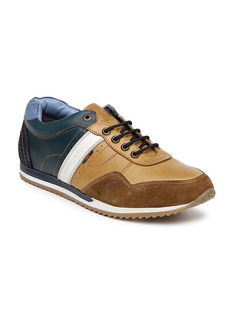Buckaroo Men Brown & Teal Blue Colourblocked Leather Sneakers