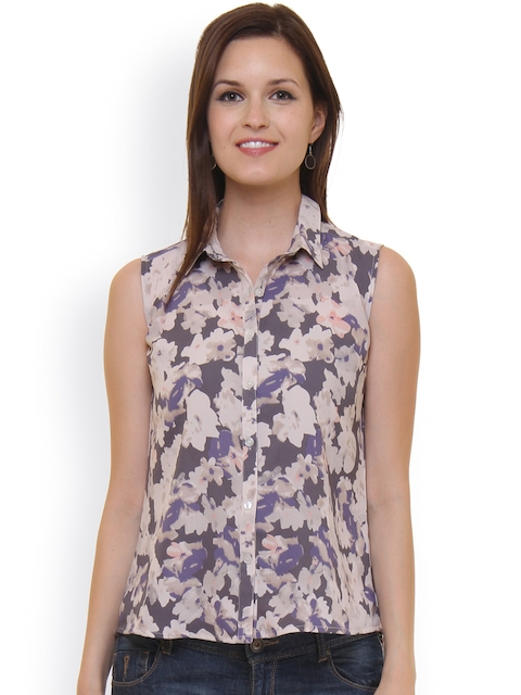 Ruhaans Women Grey Comfort Fit Printed Casual Shirt  available at myntra for Rs.299