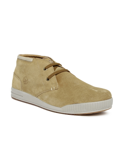 Woodland Men Brown Solid Suede Sneakers  available at myntra for Rs.1897