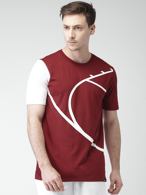 Nike Men Maroon AS CORE ART Printed Round Neck T-shirt