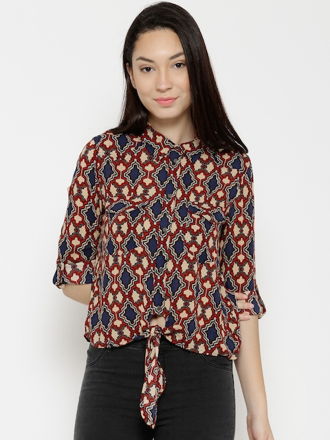 Vero Moda Women Beige & Blue Printed Casual Shirt