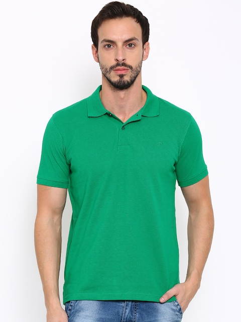 Proline Men Green Solid Polo Collar T-Shirt  available at myntra for Rs.337