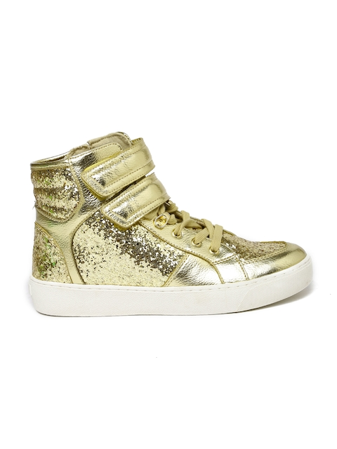 ALDO Women Gold-Toned Shimmery High-Top Sneakers
