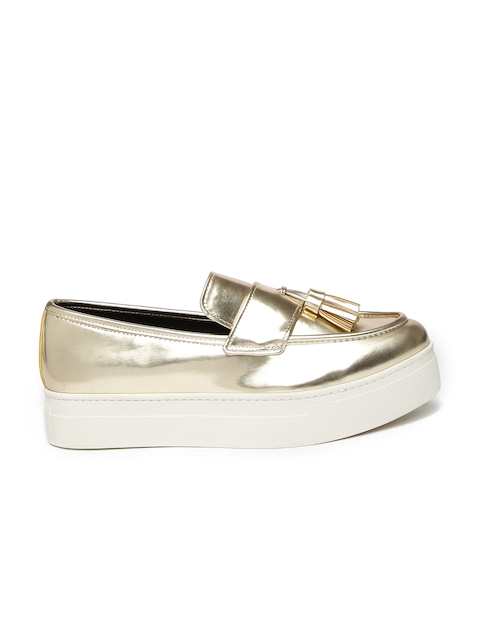 ALDO Women Muted Gold-Toned Tasseled Narcissa Slip-On Sneakers