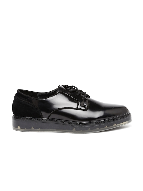 ALDO Women Black Pointy-Toed Derby Shoes