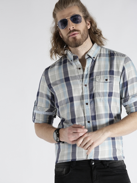 s.Oliver Men Grey & Blue Slim Fit Checked Casual Shirt