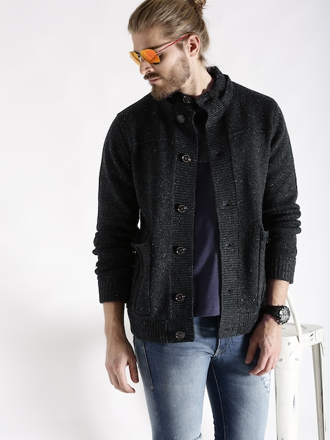 s.Oliver Charcoal Grey Patterned Jacket with Detachable Hood