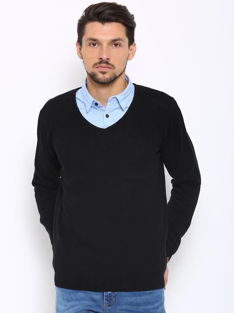 Indian Terrain Men Black Jumper Fit Sweater