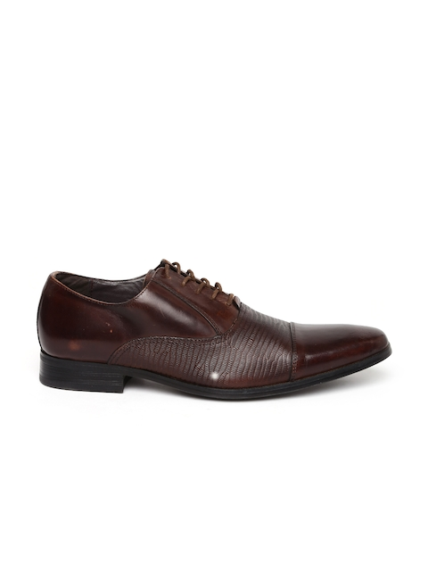 Call It Spring Men Brown Textured Oxfords