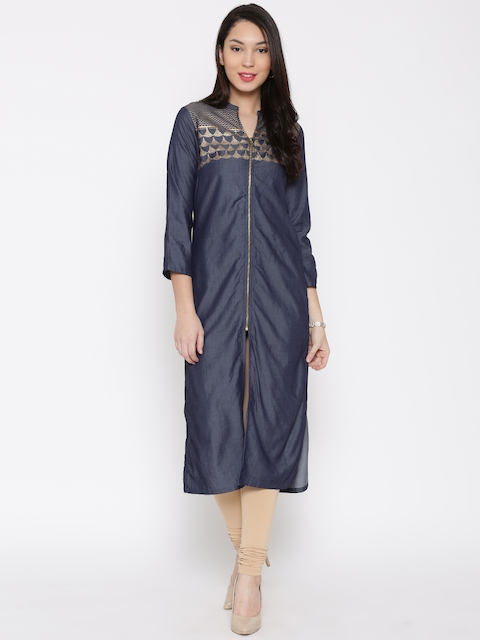 Biba Women Navy Dual-Toned Printed Straight Kurta