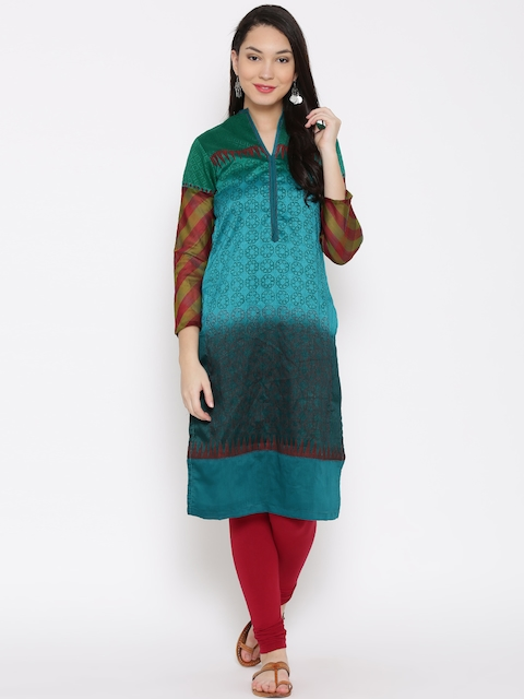 Biba Women Turquoise Blue & Green Printed Straight Kurta