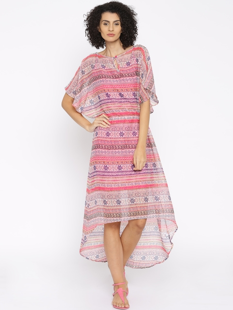 The Kaftan Company Pink Printed Sheer Kaftan Dress