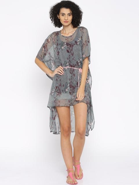The Kaftan Company Grey Printed Cover-Up Dress DR_EASYSH005