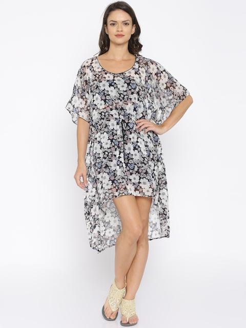 The Kaftan Company Grey Printed Sheer Kaftan Cover-Up Dress KR_ESSEN010