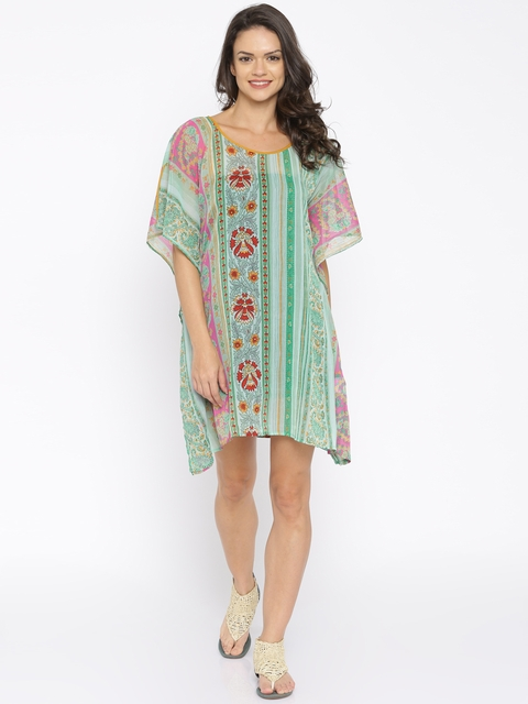 The Kaftan Company Green Printed Sheer Kaftan Cover-Up Dress RW_HOLIDY006
