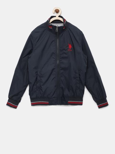 U.S. Polo Assn. Kids Boys Navy Blue Solid Reversible Open Front Jacket